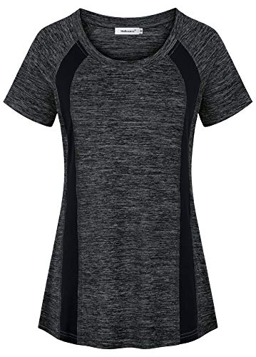 - Helloacc Activewear Tops for Women,Cool Mesh Exercise Tshirt for Women Polyester Gym Tunic for Ladies Yoga Pack Blouses for Women Fashion 2019 Relaxed Fit Burnout Patchwork Easter Clothes Black L