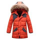 Shengdilu Unisex Kids Down Puffer Jacket Parka Fur Outwear Outfit Long Coat Detachable Hood 5T 6T Orange