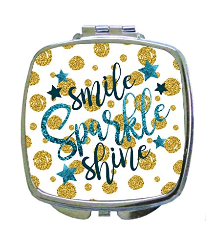 Smile Sparkle Shine - Gold/Blue Glitter Print Dots and Stars Design - Compact Mirror in Silvertone - Square Shaped - Pocket (Stars Sparkle Design)