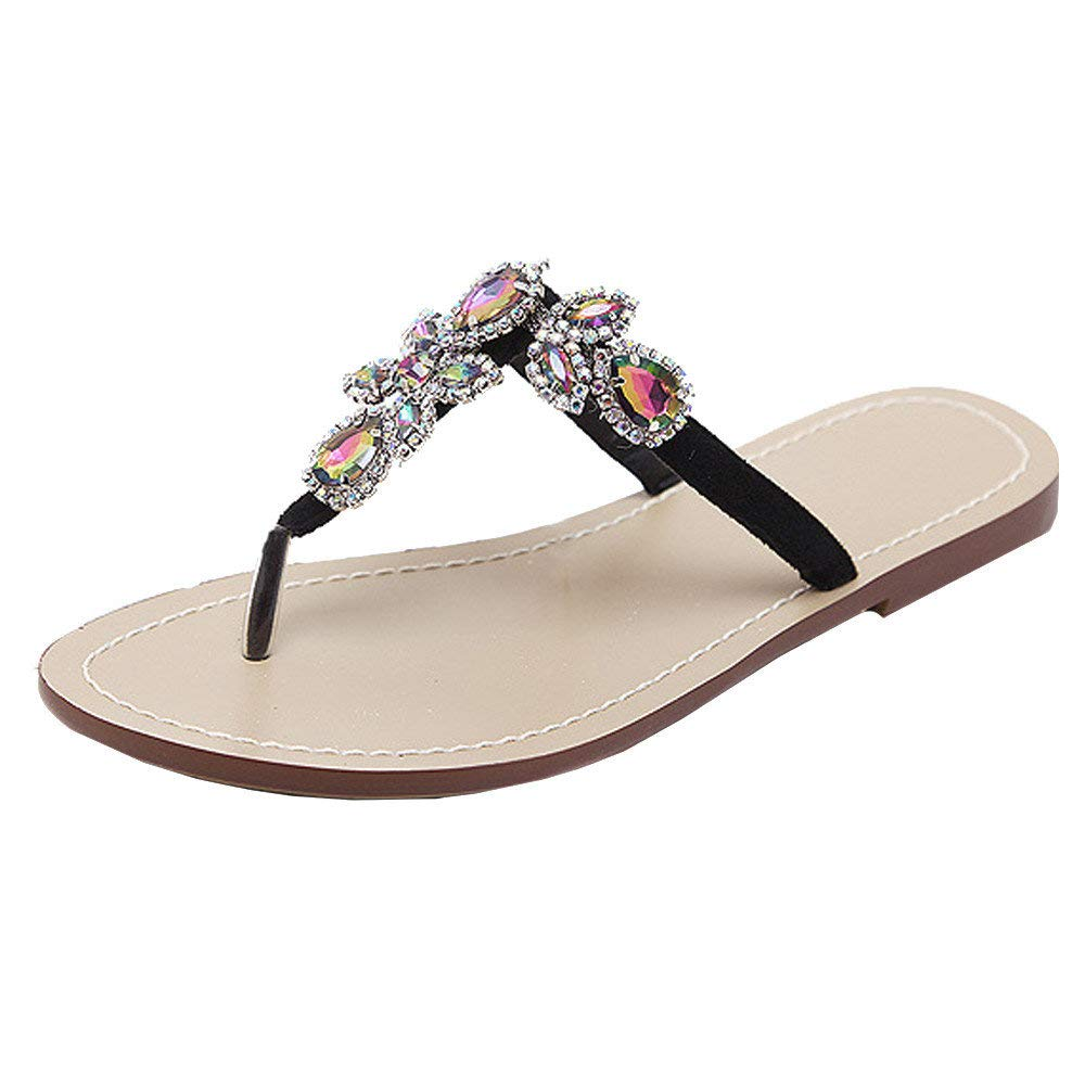 Bohemian Sandals,Boomboom Soft Juniors Women Summer Shining Rhinestones Chain Sandals T-Strap Beach Flat Slipper Shoes (Black,US 9.5)
