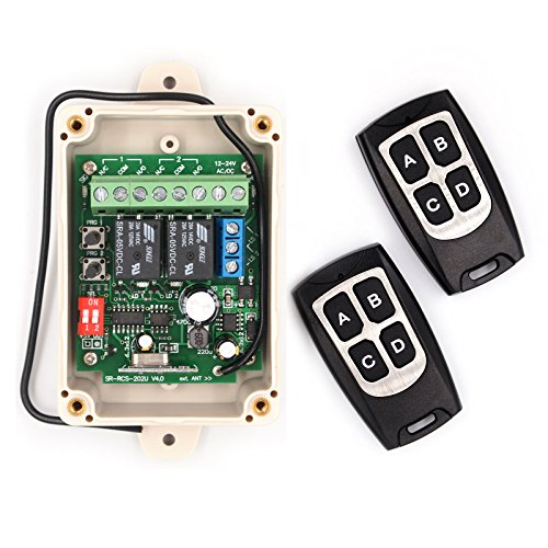 Solidremote 12V - 24V Secure Wireless RF Remote Control Relay Switch Universal 2-Channel 433Mhz Receiver with 2 Transmitters for Garage Door Openers, LED Lights & More (KIT-1)