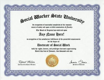Amazon.com: Social Worker Social Work Degree: Custom Gag Diploma ...