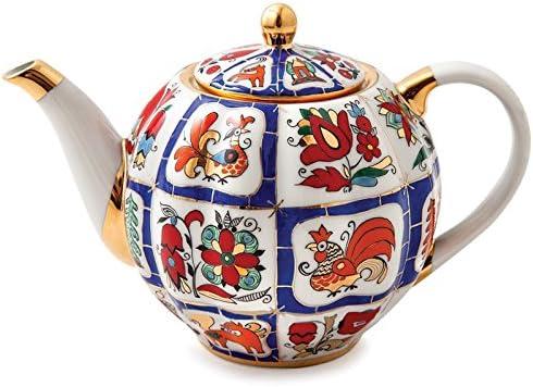 Imperial Lomonosov Porcelain Brewing Teapot Russian Lubok 600ml