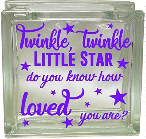 659ParkerRob Twinkle Twinkle Little Star Stars Loved Nursery Rhyme Vinyl Decal Deco Block Decal Craft DIY Nightlight Gift Glass Block Decal
