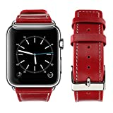 For Apple Watch Band, top4cus Genuine Leather iwatch Strap Replacement Band with Stainless Metal Clasp for Apple Watch Series 3 Series 2 Series 1 Sport and Edition (38mm, Girl style - Red)