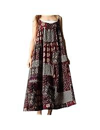 Jarsh Women Summer Plus Size Sleeveless Linen Strappy Loose Bohemia Print Long Dress