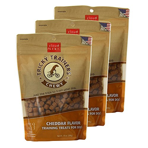 Cloud Star Chewy Tricky Trainers Cheddar Flavor Training Treats for Dogs (3 Pack) 14 oz Each ()