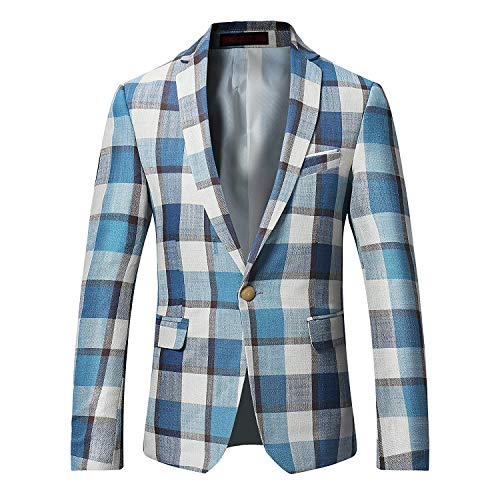 (Men's Dinner Jacket One Button Patterned Party Blazer Plaid Sports Coat (X-Large/42R, Picture Color 3))