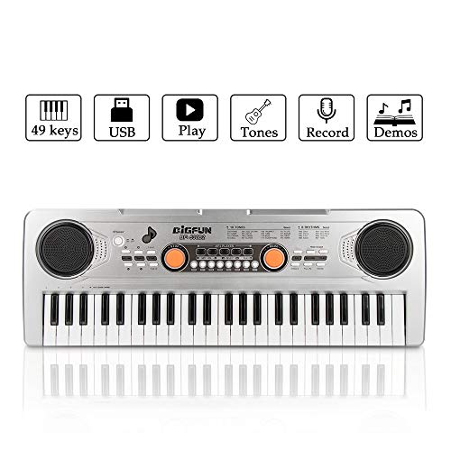 (Keyboard Piano, JINRUCHE 49 Keys Multi-function Kids Electronic Piano Educational for Student Kids Children with Microphone (Silver))