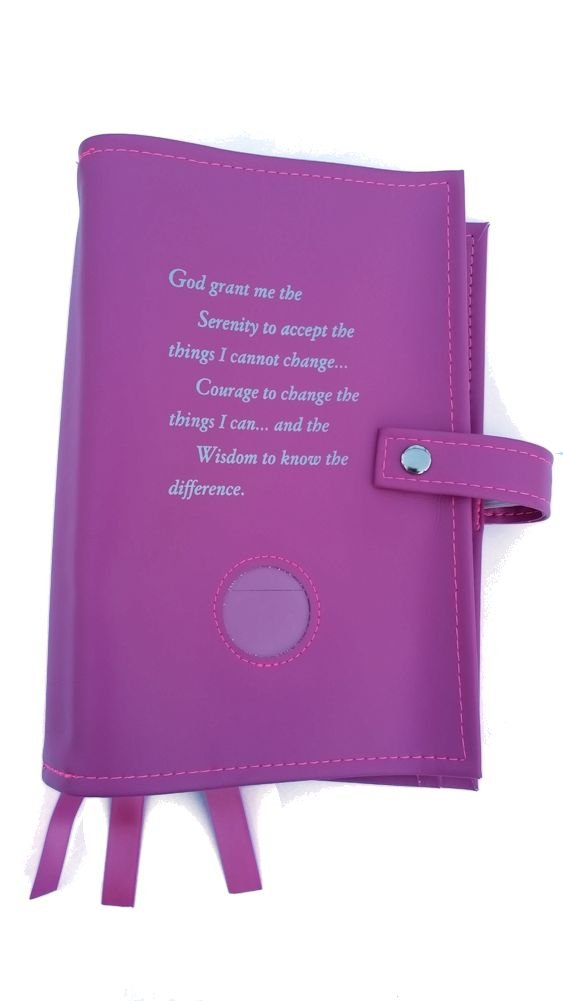 Pink DELUXE Triple NA Book Cover for the Basic Text (6th Ed), It Works, How and Why and Living Clean with Serenity Prayer and Medallion Holder. by Culver Enterprises
