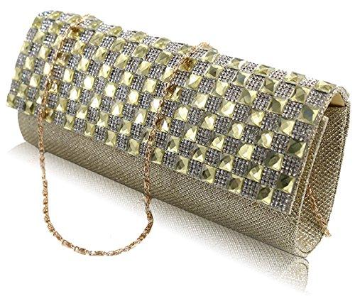 DILER Womens Pleated Crystal-Studded Satin Handbag Evening Clutch Dark blue0001 Gold00001