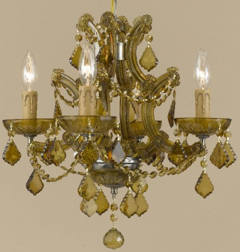 Crystorama 4405-AB-GTS Crystal Five Light Mini Chandeliers from Maria Theresa collection in Brass-Antiquefinish,