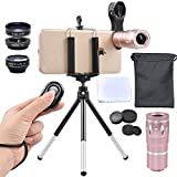 Apexel 4 in 1 Camera Lenses Kit 10x Telephoto + 198 Fisheye + 0.63x Wide Angle & 15x Macro Clip-on Lens with Mini Tripod + Phone Holder for iPhone 7 6/6s plus Samsung HTC Tablet Andriod Phone