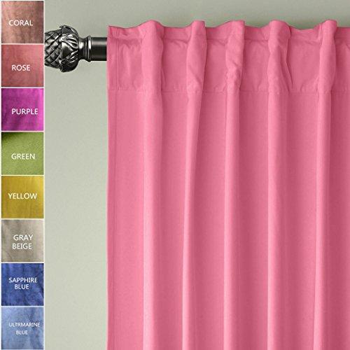 ChadMade Set of 2 Back Tab/Rod Pocket 2 IN 1 Heading Matt Velvet Curtain Panel Drapery In Rose 50