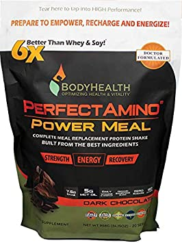 BodyHealth PerfectAmino Complete Power Meal Replacement Shake Dark Chocolate, Pouch, 20 Servings , Organic Protein Powder Drink w MCT Oil, Probiotics, Vegan, High Nutrition, for Weight Loss Diet