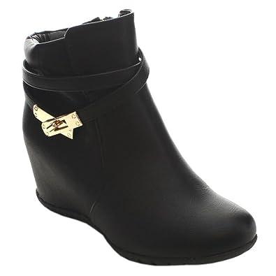 Women Comfy Almond Toe Platform Hidden Wedge Ankle Bootie