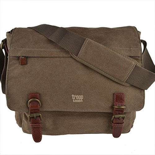 Laptop BAG Brown Large Cross Messenger Ladies by Body LEATHER Troop Compatible Brown CANVAS Mens London qP0TO