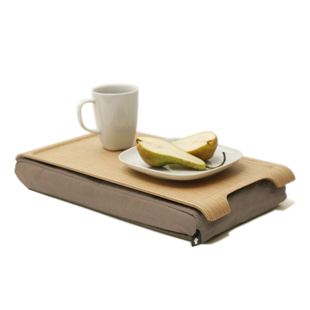 Mini laptray anti-slip bosign support//plateau pour tablettes bois//sable