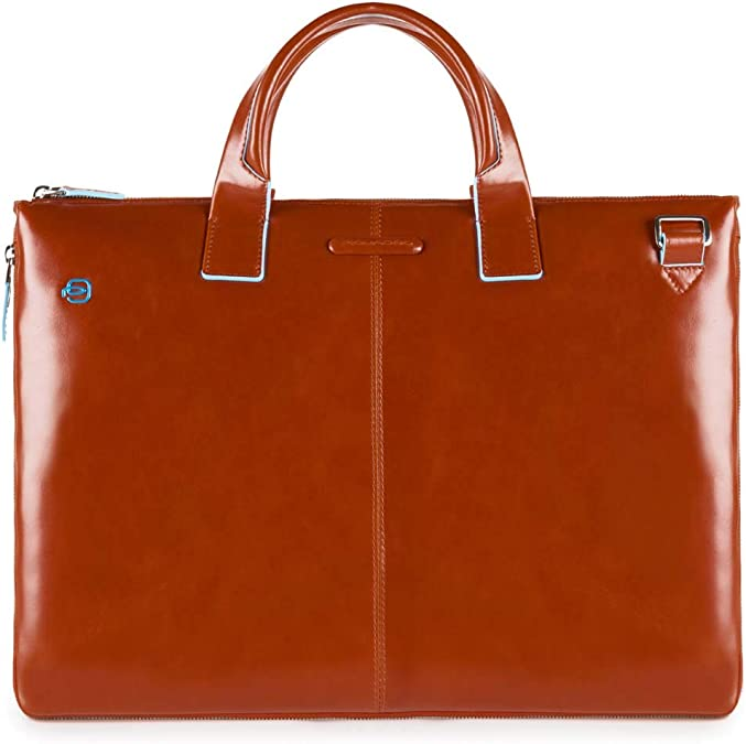 Man briefcase Piquadro Blue Square CA2849B2//MO and business bag in brown leather