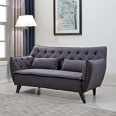 Mid Century Modern Tufted Linen Fabric Loveseat