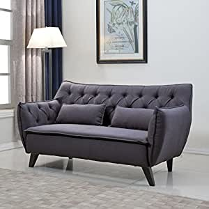 Divano Roma Furniture Mid Century Linen Fabric Loveseat, Dark Grey