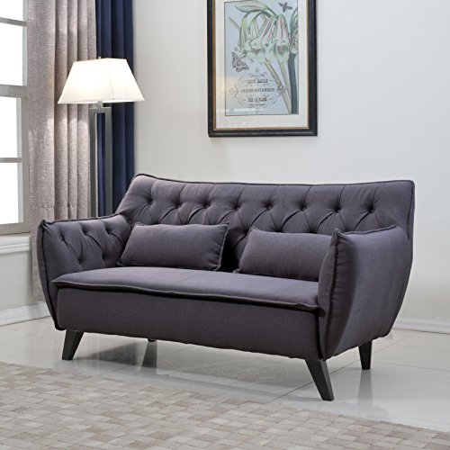 Divano Roma Furniture Mid Century Linen Fabric Loveseat, Dark Grey