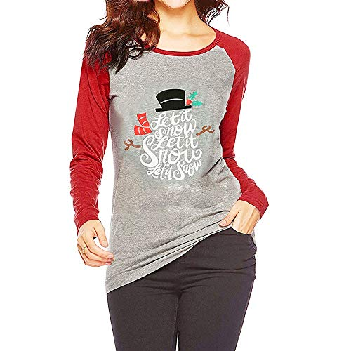 nowman T-Shirt Womens Funny O-Neck Tops Raglan Baseball Tee Let It Snow Christmas Letter ()