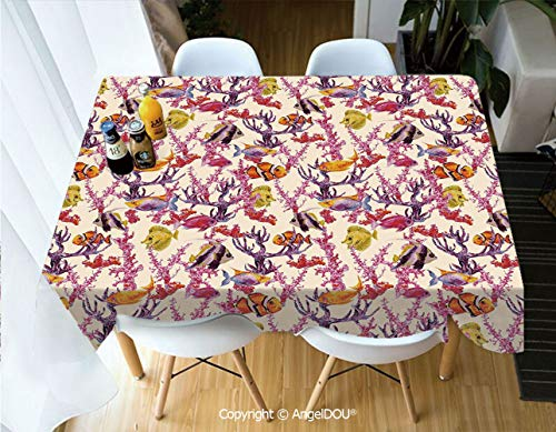 - AngelDOU Waterproof Stain Resistant Lightweight Table Cover Vintage Inspired Seaweed Coral Algee and Fish Illustration Retro Aquarium Theme for Camping Picnic Rectangular Table Clo,W55xL82(inch)