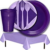 Plastic Party Supplies for 50 Guests - Purple and Lavender - Dinner Plates, Dessert Plates, Cups, Lunch Napkins, Cutlery, and Tablecloths - Premium Quality Tableware Set