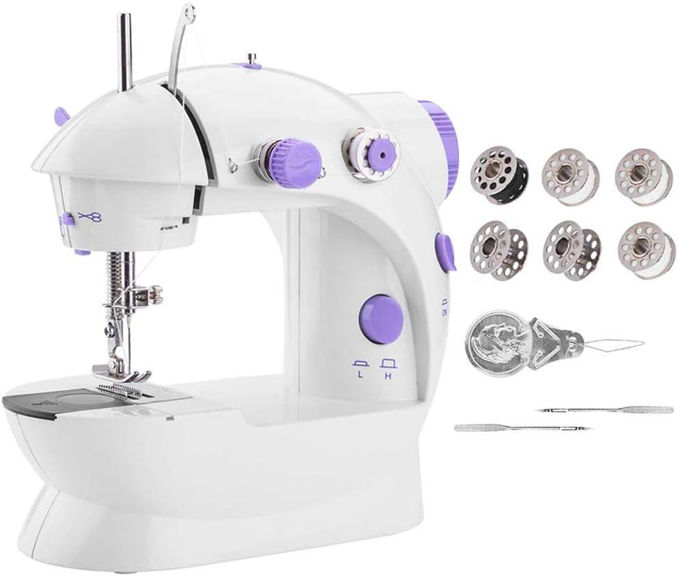 Byilx - Minimáquina de coser portátil, máquina para arreglos con luz para casa, poder artesanal, beige, EU