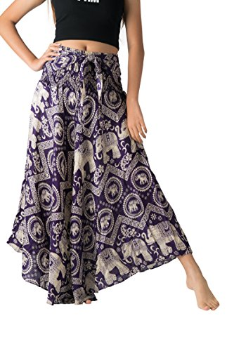 - Bangkokpants Women's Long Bohemian Hippie Skirt Boho Dresses Gypsy Clothes Elephant One Size (Purple Chakra, One Size)