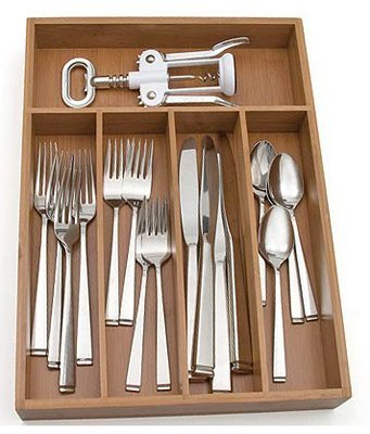 Lipper International 8876 Bamboo Flatware Organizer Tray With Dividers - Quantity 6