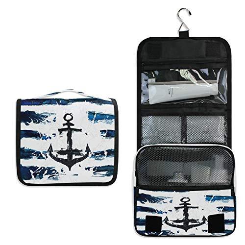 Hanging Toiletry Bag Nautical Marine Anchor Portable Travel Cosmetic Makeup Organizer Wash Bag with Hanging Hook