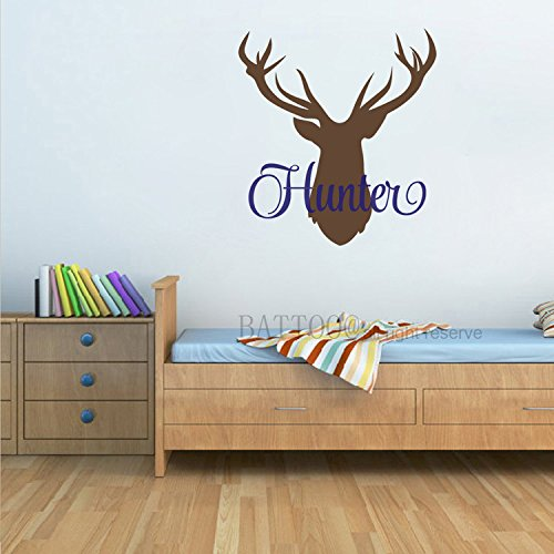 BATTOO Personalized Name Wall Decal Deer Head Decor Wall Decal 16