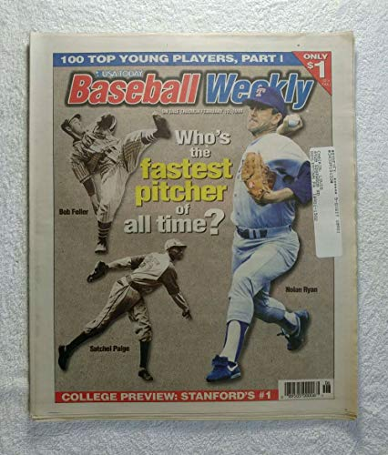 (Nolan Ryan, Bob Feller & Satchel Paige - Who's The Fastest Pitcher of All Time? - Baseball Weekly Magazine - February 10, 1998)