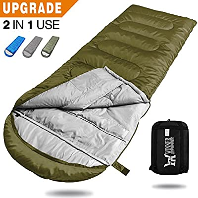 WINNER OUTFITTERS Camping Sleeping Bag, Portable Lightweight Rectangle/Mummy Backpacking Sleeping Bag with Compression Sack, 4 Season Sleeping Bags For Adults & Kids Camping Travel Summer Outdoor by Winner Outfitters