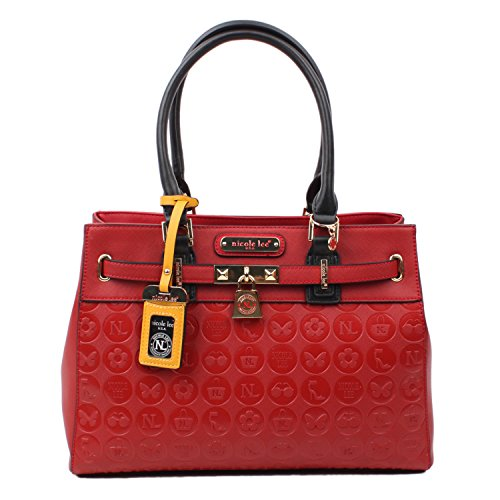 Tote Handbag, Nicole Lee [Embossed] ,Faux Leather [Black] for Women (Red)