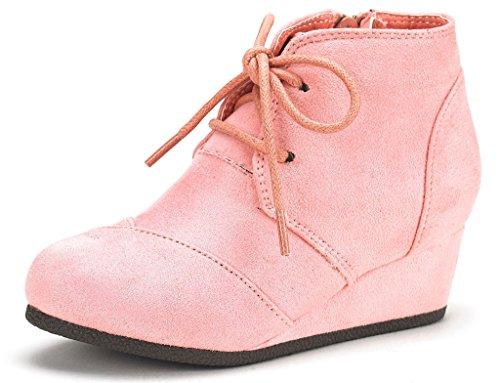 (DREAM PAIRS Toddler Tomson-K Pink Girl's Low Wedge Heel Booties Shoes - 10 M US)