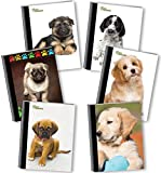 New Generation - Puppies - Composition Book, 6 Pack, Wide Ruled, 80 Sheets / 160 Pages, 7.5 x 9.75 inches, Heavy Duty UV Glossy Laminated Hard Covers,6 Assorted Fashionable Notebooks per Pack.