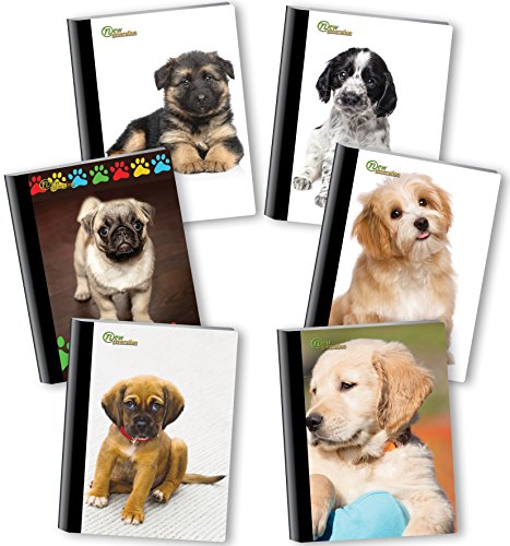 New Generation - Puppies - Composition Book, 6 Pack, Wide Ruled, 80 Sheets / 160 Pages, 7.5 x 9.75 inches, Heavy Duty UV Glossy Laminated Hard Covers,6 Assorted Fashionable Notebooks per Pack. by New Generation