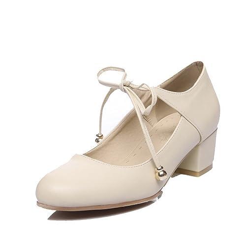 Lacet Chaussures Voguezone009 Femme À Fibre Rond Super Correct Talon aRw0xq8a