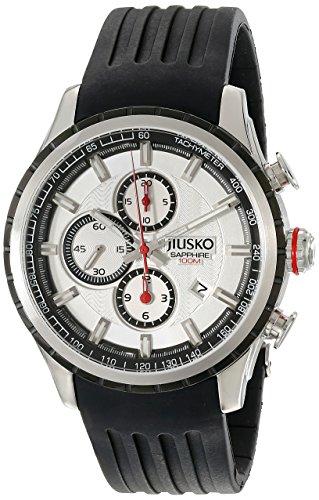 Jiusko Men's Analog Quartz Tachymeter Chronograph Sport Wrist Watch - Sapphire - 100m - Silver Dial - Black Rubber Strap -60LSB01