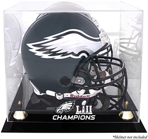 Sports Memorabilia Philadelphia Eagles Super Bowl LII Champions Golden Classic Helmet Logo Display Case - Football Helmet Logo Display Cases