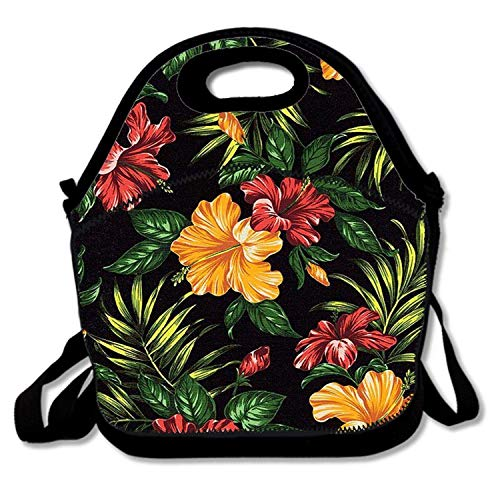 Insulated Polyester Fiber Lunch Bag - Removable Shoulder Strap - Reusable Thermal Thick Lunch Tote/Lunch Box/Cooler Bag For Women,Teens,Girls,Kids,Adults - Tropical Hibiscus Retreat