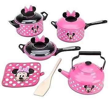 Amazon.com: Disney Store Minnie Mouse Kitchen Play Set Pots n Pans ...