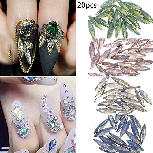 80pcs/Set 3D Leaf-shaped Crystal Diamond Rhinestone DIY Nail Art Decorations Long Thin Glitter Multi-colored Attractive (80pcs Multi)