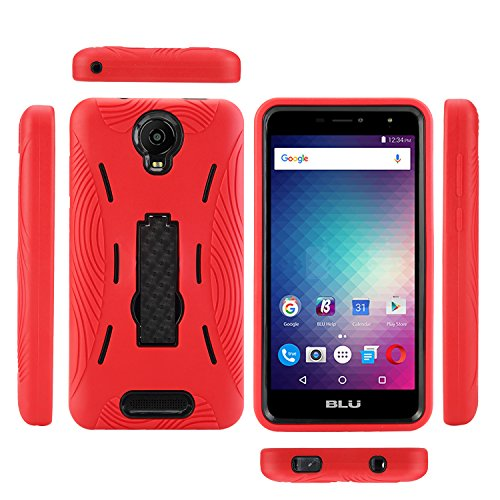 BLU Studio Mega (2017) Case, BLU Advance A6 (2017) Case, Heavy Duty Rugged Hard Cover with Hybrid Dual Layer Shock-Absorption Protection with Kickstand (HVD Red/Black)