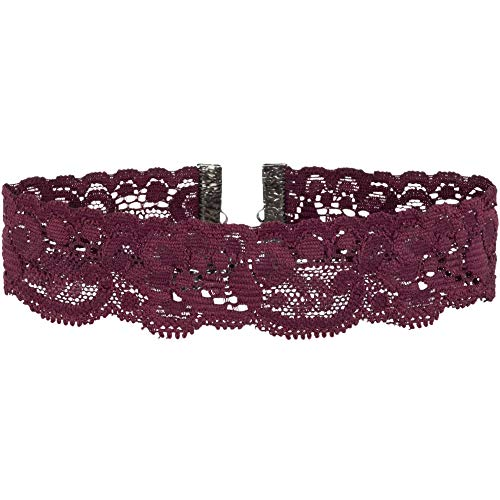 Twilights Fancy Floral Elastic Stretch Lace Choker Necklace (Dark Red Burgundy, Large)