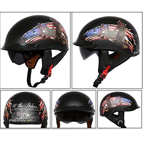 MMGIRLS Vintage Harley Helmet ECE/D.O.T Certified Scooter Helmet Pen Modular Helmet Men and Women Summer Helmet (American Eagle - Vintage Pen Eagle
