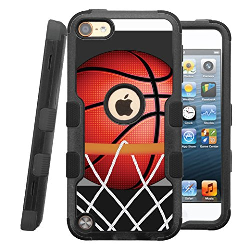 iPod touch 5th / 6th Case, CASECREATOR[TM] For Apple iPod touch 5th / 6th generation () -- NATURAL TUFF Hybrid Rubber Hard Snap-on Case Black Black-BasketBall Hoop